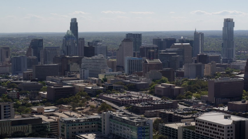 5.7K stock footage aerial video of slowly flying away from the city's skyline in Downtown Austin, Texas Aerial Stock Footage | DX0002_108_020