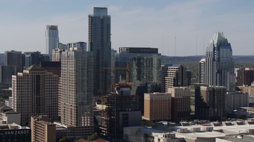 5.7K stock footage aerial video of The Austonian skyscraper and high-rise hotel in Downtown Austin, Texas Aerial Stock Footage | DX0002_108_029