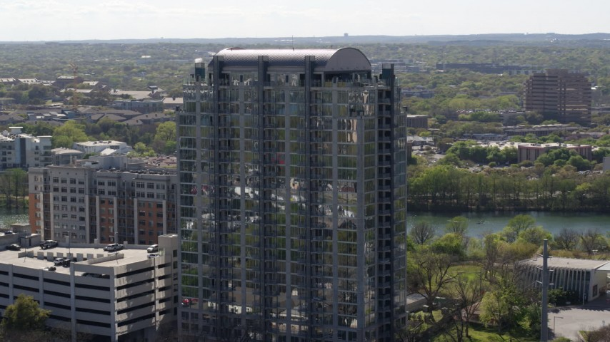 5.7K stock footage aerial video of orbiting a high-rise apartment building in Downtown Austin, Texas Aerial Stock Footage | DX0002_108_034