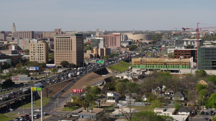 5.7K stock footage aerial video of heavy traffic on a freeway in Austin, Texas Aerial Stock Footage | DX0002_108_037