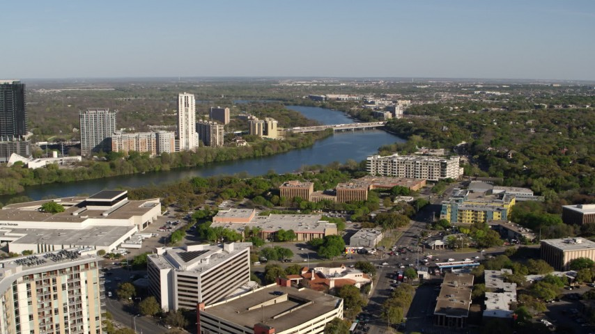 5.7K stock footage aerial video a freeway bridge spanning Lady Bird Lake, Austin, Texas Aerial Stock Footage | DX0002_109_008