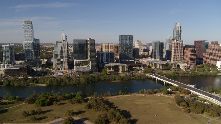 5.7K aerial video of the city's waterfront skyline on the other side of Lady Bird Lake, Downtown Austin, Texas Aerial Stock Footage | DX0002_109_014