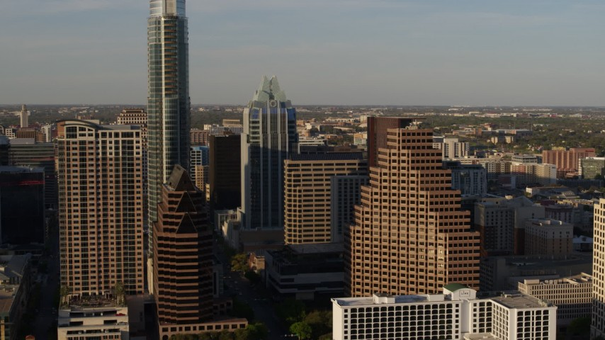 5.7K stock footage aerial video approaching downtown skyscrapers in Downtown Austin, Texas Aerial Stock Footage | DX0002_109_036