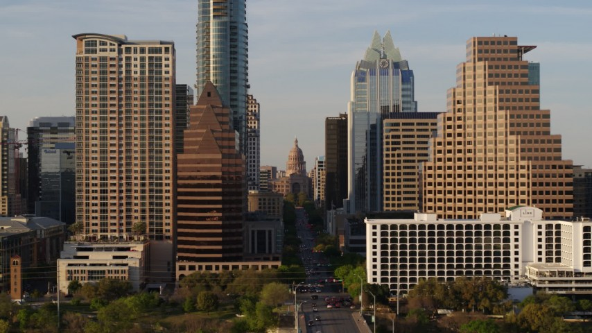 5.7K stock footage aerial video of downtown skyscrapers, reveal the state capitol in Downtown Austin, Texas Aerial Stock Footage | DX0002_109_039