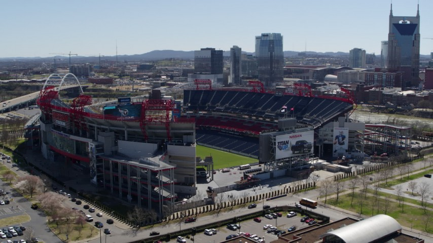 5.7K stock footage aerial video of an orbit of the football stadium with view of the field in Nashville, Tennessee Aerial Stock Footage | DX0002_112_011