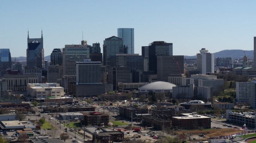 5.7K stock footage aerial video of ascending near the city's skyline, Downtown Nashville, Tennessee Aerial Stock Footage | DX0002_112_035