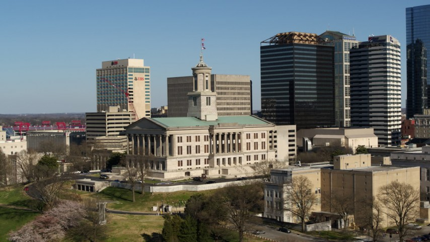 5.7K stock footage aerial video of orbiting the Tennessee State Capitol building in Downtown Nashville, Tennessee Aerial Stock Footage | DX0002_113_032