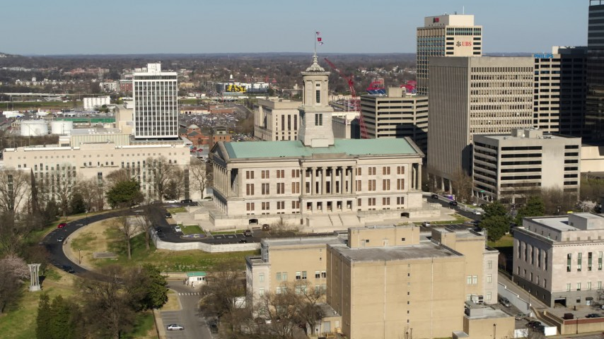 5.7K stock footage aerial video of slowly orbiting the Tennessee State Capitol building in Downtown Nashville, Tennessee Aerial Stock Footage | DX0002_113_033