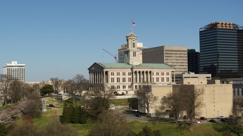 5.7K stock footage aerial video low altitude orbit of the Tennessee State Capitol building in Downtown Nashville, Tennessee Aerial Stock Footage | DX0002_113_035