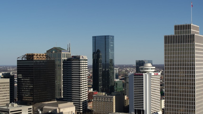 5.7K stock footage aerial video the towering 505 skyscraper in Downtown Nashville, Tennessee Aerial Stock Footage | DX0002_113_036