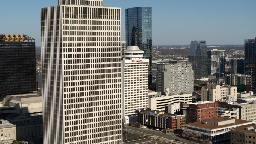 5.7K stock footage aerial video flyby Tennessee Tower to reveal hotel and 505 in Downtown Nashville, Tennessee Aerial Stock Footage | DX0002_113_039
