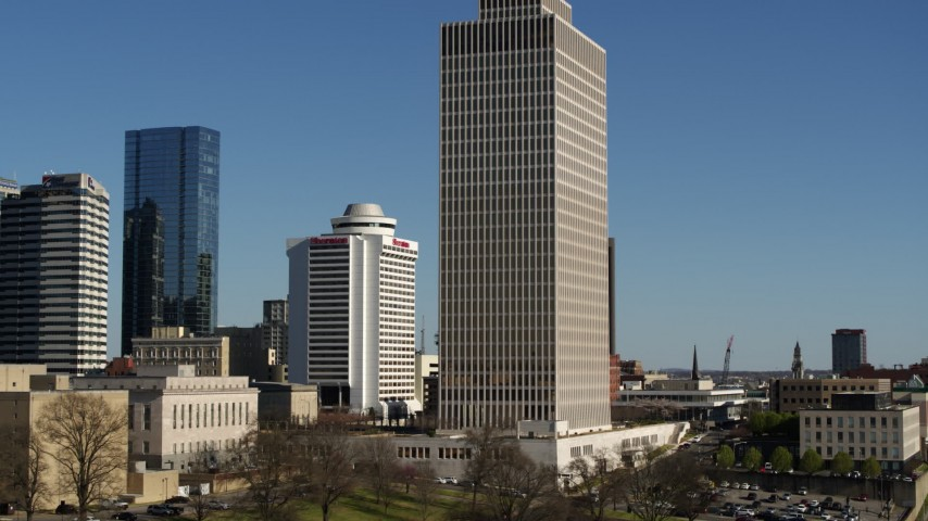 5.7K stock footage aerial video of a low altitude orbit of Tennessee Tower in Downtown Nashville, Tennessee Aerial Stock Footage | DX0002_113_044
