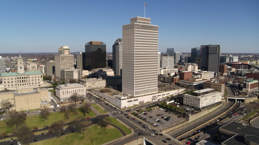 5.7K stock footage aerial video descend and orbit Tennessee Tower near the state capitol in Downtown Nashville, Tennessee Aerial Stock Footage | DX0002_114_004