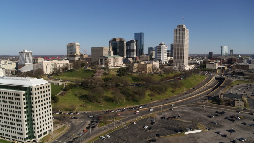 5.7K stock footage aerial video of the Tennessee State Capitol, skyscrapers, Tennessee Tower in Downtown Nashville, Tennessee Aerial Stock Footage | DX0002_114_007