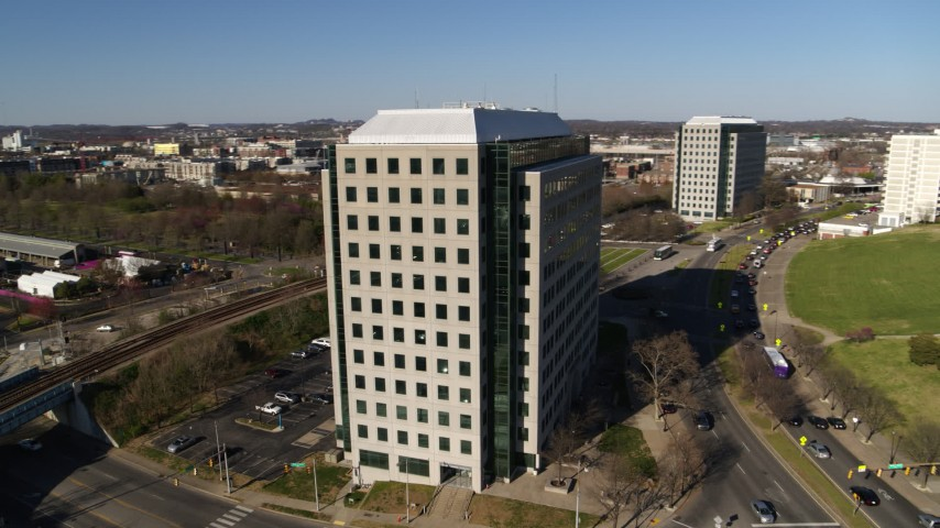 5.7K stock footage aerial video orbit Andrew Johnson Tower, a government office building in Downtown Nashville, Tennessee Aerial Stock Footage | DX0002_114_012