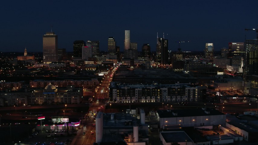 5.7K stock footage aerial video approach Church Street and the city skyline at twilight, Downtown Nashville, Tennessee Aerial Stock Footage | DX0002_115_042