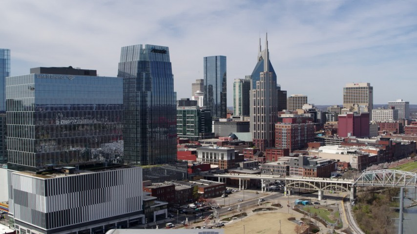 5.7K stock footage aerial video flyby 222 2nd Avenue for a view of skyscrapers in Downtown Nashville, Tennessee Aerial Stock Footage | DX0002_116_001