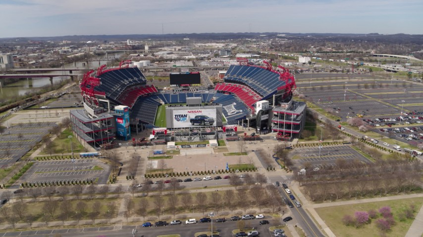 5.7K stock footage aerial video circling around Nissan Stadium in Nashville, Tennessee Aerial Stock Footage | DX0002_117_012
