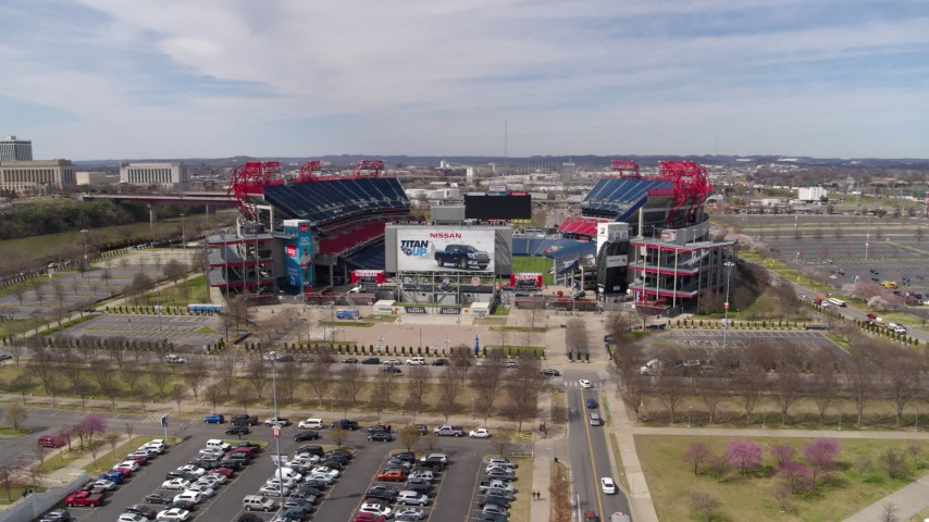 5.7K stock footage aerial video descend and orbit Nissan Stadium in Nashville, Tennessee Aerial Stock Footage | DX0002_117_013