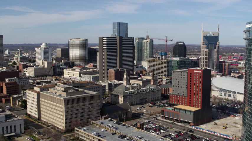 5.7K stock footage aerial video of approaching a high-rise hotel in Downtown Nashville, Tennessee Aerial Stock Footage | DX0002_118_005