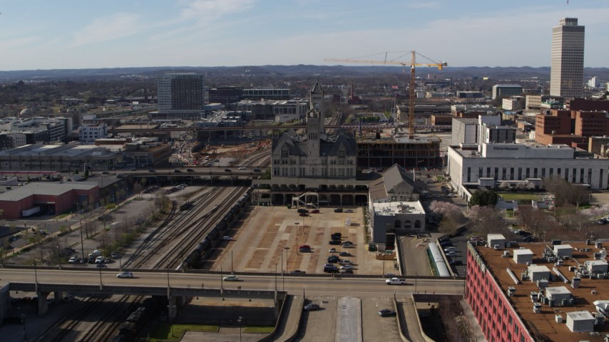 5.7K stock footage aerial video of Union Station Hotel during descent in Downtown Nashville, Tennessee Aerial Stock Footage | DX0002_118_017