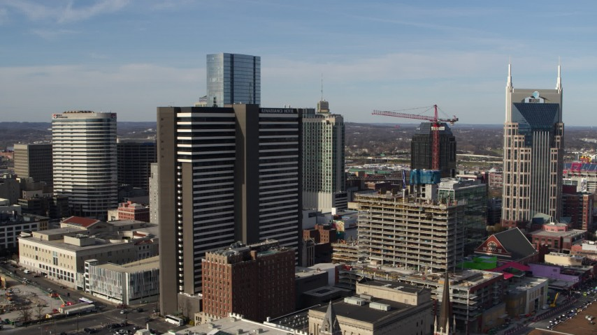 5.7K stock footage aerial video slowly orbit Renaissance Hotel in Downtown Nashville, Tennessee Aerial Stock Footage | DX0002_119_005