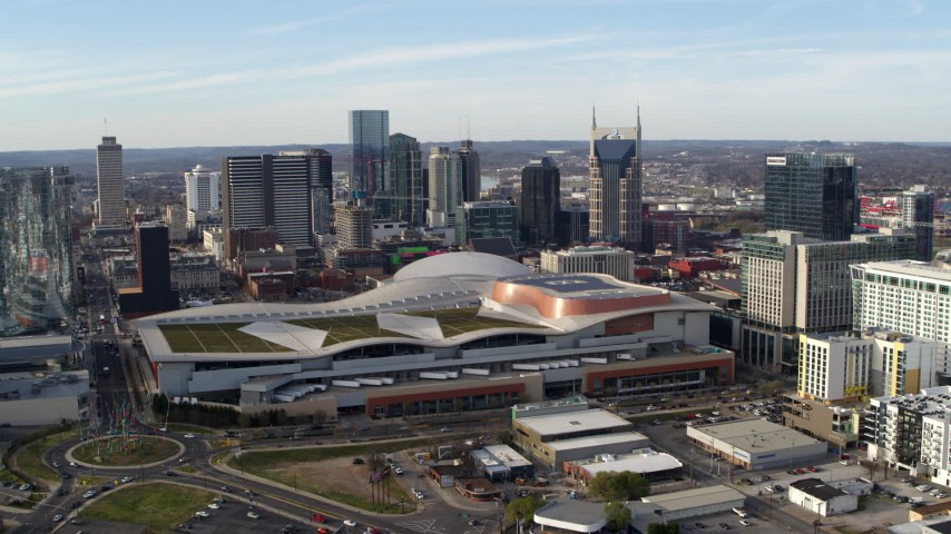 5.7K stock footage aerial video of city skyline and Nashville Music City Center, Downtown Nashville, Tennessee Aerial Stock Footage | DX0002_119_018