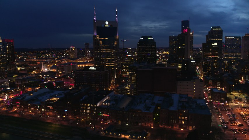 5.7K stock footage aerial video of orbiting the AT&T Building at twilight, Downtown Nashville, Tennessee Aerial Stock Footage | DX0002_121_005
