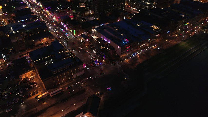 5.7K stock footage aerial video fly away from bird's eye of Broadway and traffic at twilight, Downtown Nashville, Tennessee Aerial Stock Footage   DX0002_121_017