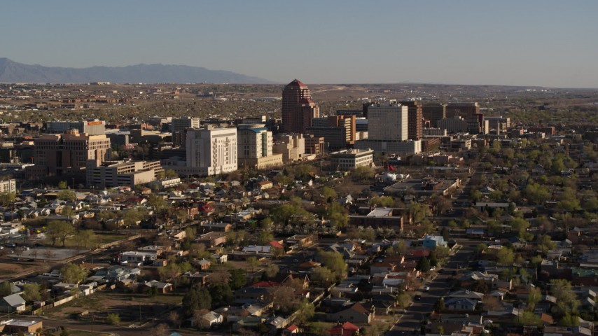 5.7K stock footage aerial video of flying by the city's high-rises in Downtown Albuquerque, New Mexico Aerial Stock Footage | DX0002_122_001
