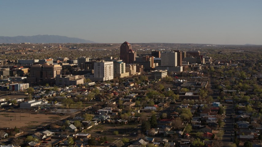 5.7K stock footage aerial video of slowly passing by the city's high-rises, Downtown Albuquerque, New Mexico Aerial Stock Footage | DX0002_122_008