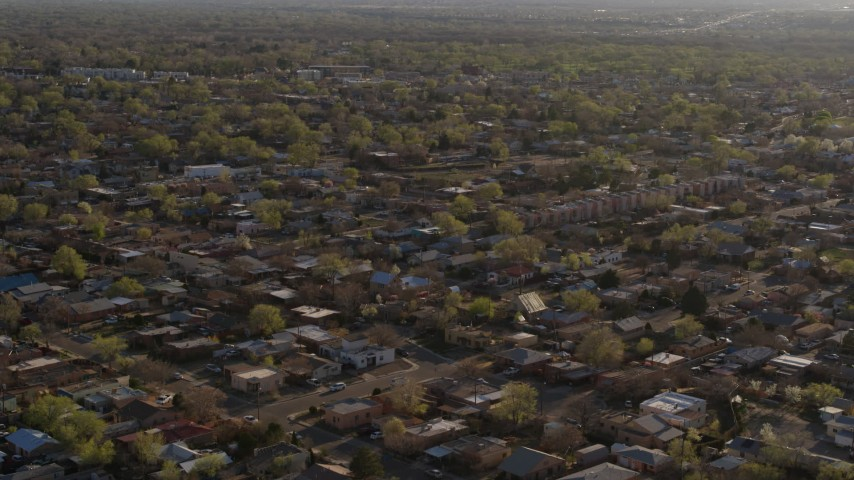 5.7K stock footage aerial video of orbiting urban neighborhoods in Albuquerque, New Mexico Aerial Stock Footage | DX0002_122_011