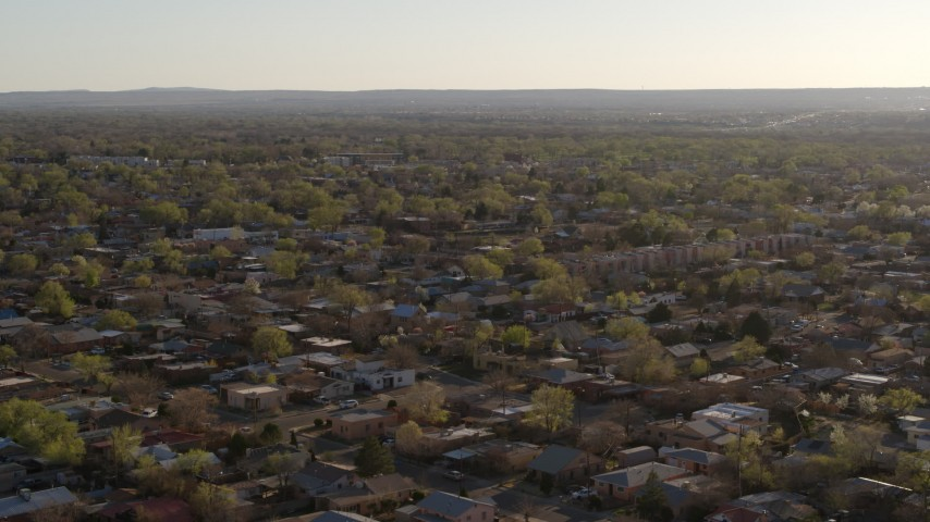 5.7K stock footage aerial video of a wide orbit of urban neighborhoods in Albuquerque, New Mexico Aerial Stock Footage DX0002_122_012