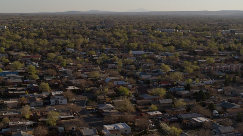 5.7K stock footage aerial video of a wide orbit of an urban neighborhood in Albuquerque, New Mexico Aerial Stock Footage | DX0002_122_013