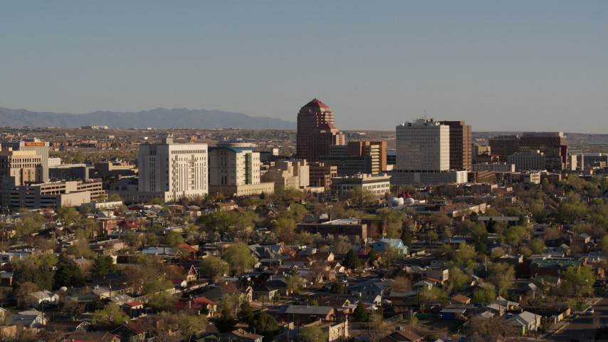 5.7K stock footage aerial video of ascending with a view of the city's office high-rises, Downtown Albuquerque, New Mexico Aerial Stock Footage | DX0002_122_014