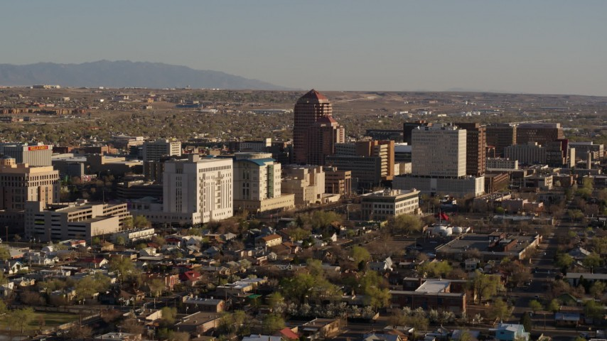 5.7K stock footage aerial video of flying by the city's office high-rises, Downtown Albuquerque, New Mexico Aerial Stock Footage | DX0002_122_015