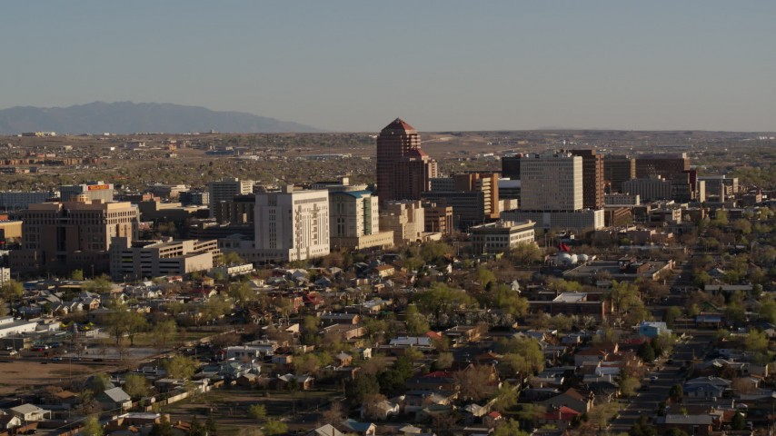 5.7K stock footage aerial video of passing by the city's office high-rises, Downtown Albuquerque, New Mexico Aerial Stock Footage | DX0002_122_016