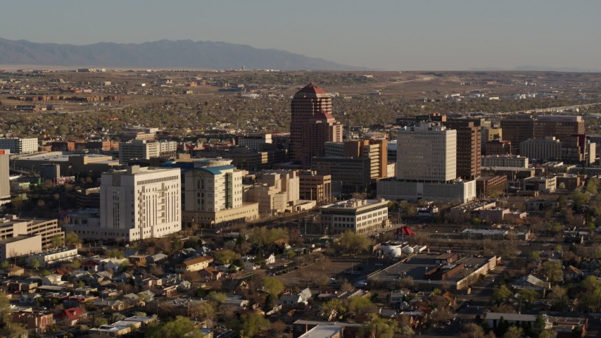 5.7K stock footage aerial video of a view of the city's office high-rises, Downtown Albuquerque, New Mexico Aerial Stock Footage | DX0002_122_018