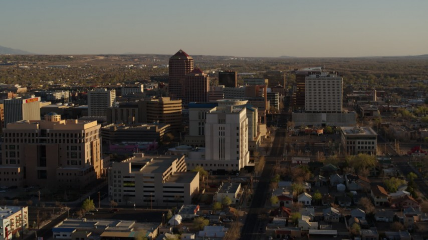 5.7K stock footage aerial video of high-rise office buildings behind courthouse in Downtown Albuquerque, New Mexico Aerial Stock Footage | DX0002_122_025