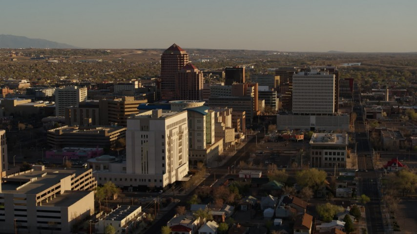 5.7K stock footage aerial video of high-rise office buildings seen from courthouse in Downtown Albuquerque, New Mexico Aerial Stock Footage | DX0002_122_027
