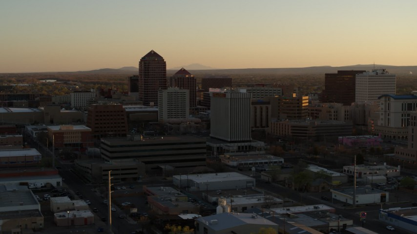 5.7K stock footage aerial video of orbiting high-rise office buildings at sunset, Downtown Albuquerque, New Mexico Aerial Stock Footage | DX0002_122_041