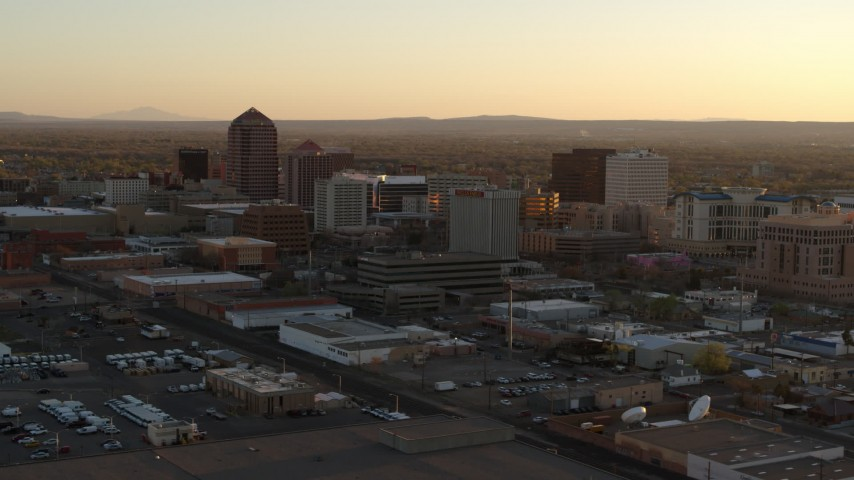 5.7K stock footage aerial video of an orbit of high-rise office buildings at sunset, Downtown Albuquerque, New Mexico Aerial Stock Footage | DX0002_122_043