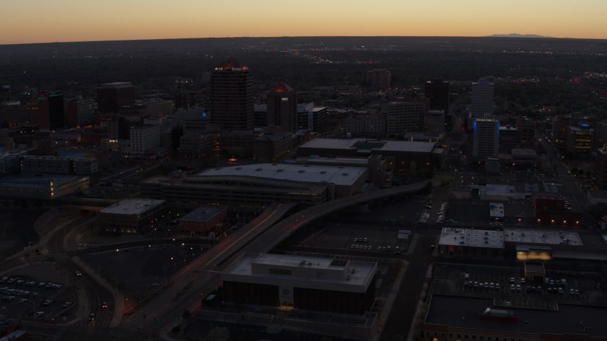 5.7K stock footage aerial video orbiting Albuquerque Plaza and Hyatt Regency at sunset, Downtown Albuquerque, New Mexico Aerial Stock Footage | DX0002_123_013