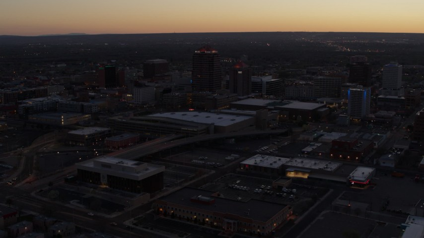 5.7K stock footage aerial video orbit Albuquerque Plaza and Hyatt Regency at sunset, Downtown Albuquerque, New Mexico Aerial Stock Footage | DX0002_123_014