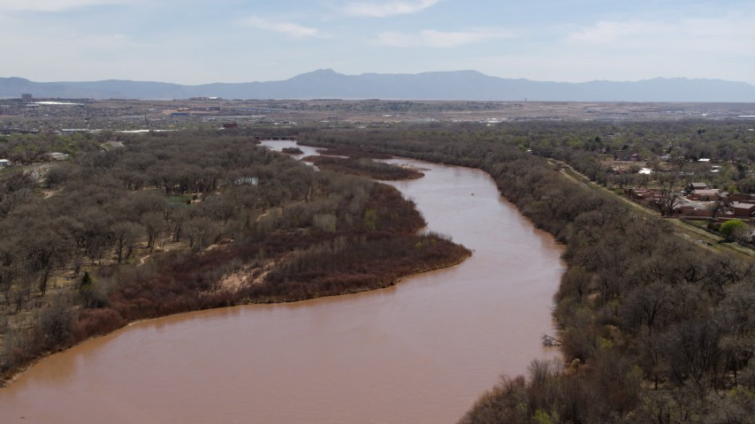 5.7K stock footage aerial video of the Rio Grande river in Albuquerque, New Mexico Aerial Stock Footage | DX0002_124_011