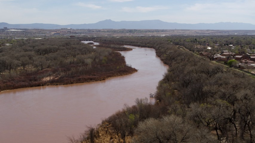 5.7K stock footage aerial video of a reverse view of the Rio Grande river in Albuquerque, New Mexico Aerial Stock Footage | DX0002_124_014