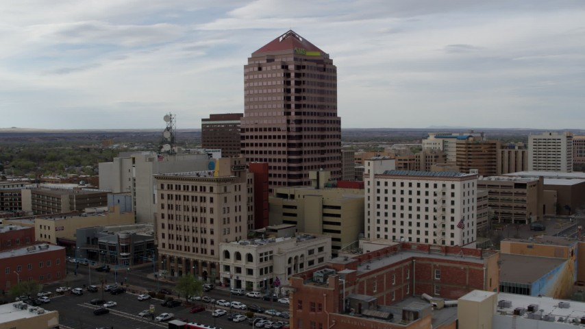 5.7K stock footage aerial video of the Albuquerque Plaza office building, Downtown Albuquerque, New Mexico Aerial Stock Footage | DX0002_127_001