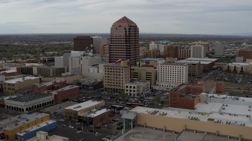 5.7K stock footage aerial video reverse view and orbit Albuquerque Plaza office building, Downtown Albuquerque, New Mexico Aerial Stock Footage | DX0002_127_002