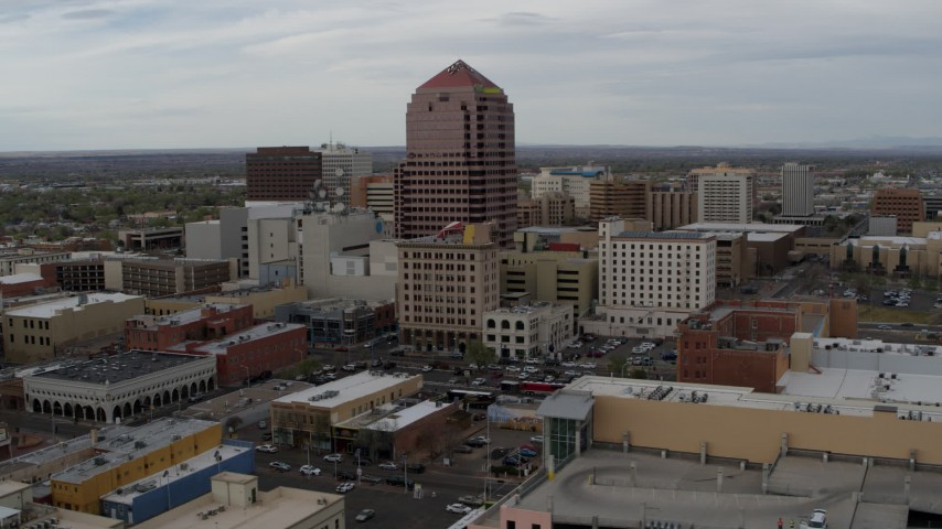 5.7K stock footage aerial video orbiting the Albuquerque Plaza and neighboring city buildings, Downtown Albuquerque, New Mexico Aerial Stock Footage | DX0002_127_003