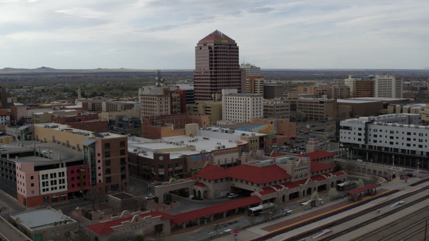 5.7K stock footage aerial video orbit Albuquerque Plaza high-rise and neighboring city buildings, Downtown Albuquerque, New Mexico Aerial Stock Footage | DX0002_127_007